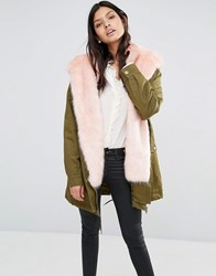 Little Mistress Hooded Parka With Contrast Faux Fur Lining Khaki With Baby Pink Green