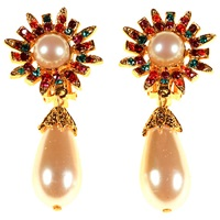 Alice Joseph Vintage Gold Plated Drop Pearl Diamante Clip On Earrings Gold