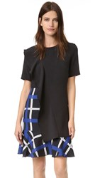 Edit Asymmetric Sculpturedfrill Mini Dress Black Blue Plaid Print