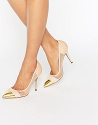 Paper Dolls Orla Nude Sheer Court With Gold Toe Cap Nude Beige