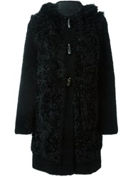 Blancha Button Fastening Hooded Coat Black