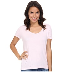 Three Dots V Neck Top Sheer Pink Women's Clothing Neutral