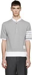 Thom Browne Grey Cotton Piqua Armband Polo