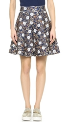 Cynthia Rowley Print Flared Skirt Gilded Brocade Teal