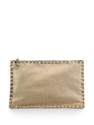 Valentino Studded Metallic Leather Zip Pouch Gold