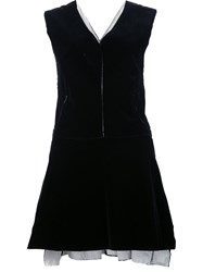 Derek Lam Peplum Sleeveless Blouse Black