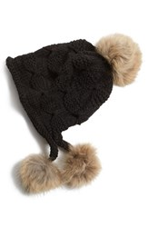Women's Linda Richards Genuine Raccoon Fur Earflap Hat Black