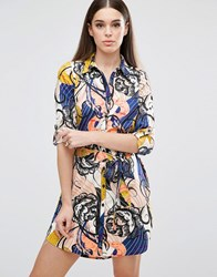 Ax Paris Multi Print Belted Shirt Dress Multi