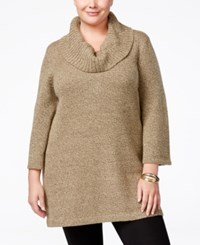 Karen Scott Plus Size Cowl Neck Tunic Only At Macy's Chestnut Marble