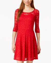 Material Girl Short Sleeve Lace Skater Dress Lipstick Red