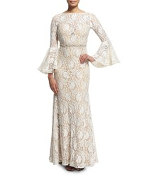 Jovani Bell Sleeve Lace Mermaid Gown Off White Nude