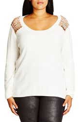 City Chic Plus Size Women's Embellished Shoulder Cotton Blend Sweater
