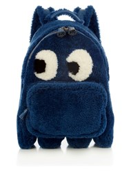 Anya Hindmarch Ghost Mini Shearling Backpack Dark Blue