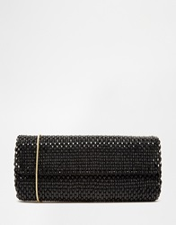 Reiss Souxie Soft Beaded Clutch Bag Black