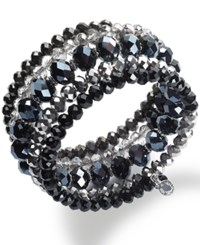 Inc International Concepts Silver Tone Jet And Metallic Beaded Coil Bracelet Only At Macy's Multi