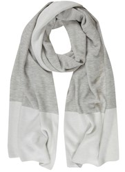 Mint Velvet Grey And Cream Blocked Scarf