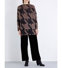 Simona Tagliaferri Geometric Pattern Wool Blend Tunic Wood