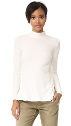 Enza Costa Heather Rib Mock Neck Top Winter White