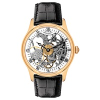 Rotary Gs02522 01 Men's Mechanical Skeleton Black Leather Strap Watch