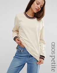 Asos Petite Sweatshirt With Sparkly Tipping Stone Beige