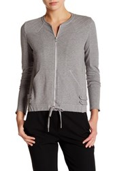 The Kooples Fleece Moto Zip Sweatshirt Gray
