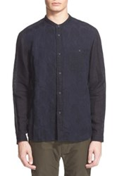 White Mountaineering Trim Fit Band Collar Jacquard Sport Shirt Blue