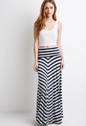 Forever 21 Striped Fold Over Maxi Skirt Grey Navy