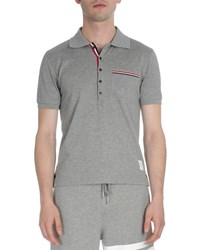 Thom Browne Stripe Trim Pique Polo Shirt Light Gray Men's Light Grey