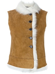 Joseph Shearling Gilet Nude And Neutrals