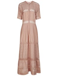 Ulla Johnson Dusty Rose Cotton Embroidered Vasilisia Dress Pink