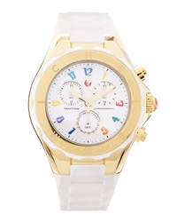 Michele Tahitian Jelly Bean Carousel Watch White Yellow Gold