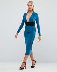 Hedonia Long Sleeve Pencil Dress With Contrast Waistband Teal Blue