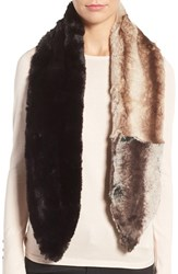 Badgley Mischka Women's Colorblock Faux Chinchilla Scarf Grey Camel