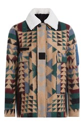 Valentino Virgin Wool Mohair Blend Printed Jacket Multicolor
