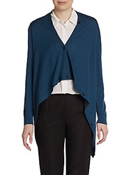 Lafayette 148 New York Wool Long Sleeve Draped Cardigan Mallard
