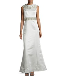 Theia Satin Beaded Shawl Gown Celadon