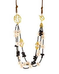 Indulgems Layered White Pearl Pussywillow Statement Necklace Women's