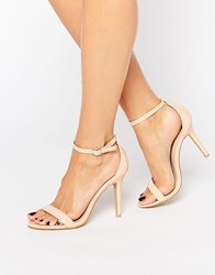 Glamorous Pink Two Part Heeled Sandals Nude