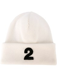 Dsquared2 Embroidered 2 Beanie Nude And Neutrals
