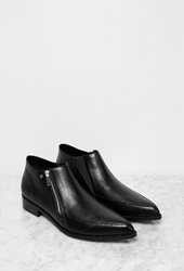 Forever 21 Faux Leather Pointed Booties Black