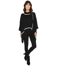 Michael Stars In Check Turtleneck Poncho Black Women's Clothing