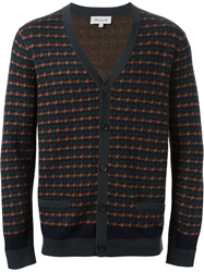 Paul And Joe Houndstooth V Neck Cardigan Yellow And Orange