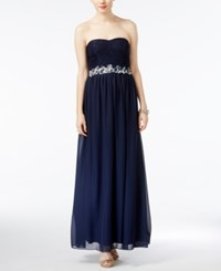 Speechless Juniors' Embellished Glitter Lace Gown Navy