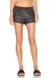 Monrow Perforated Leather Short Black