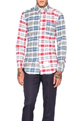 Thom Browne Long Sleeve Plaid Button Down In Red Checkered And Plaid Blue