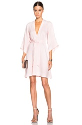 Tome Fwrd Exclusive Crepe V Neck Shirt Dress In Pink