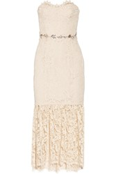 Marchesa Strapless Embellished Lace Midi Dress Nude