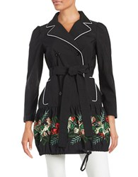 Anna Sui Embroidered Double Breasted Trench Coat Poppy Multi