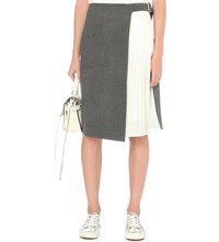 Izzue Woven And Pleated Wrap Skirt Grey