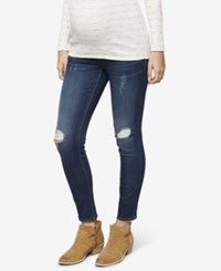 A Pea In The Pod Maternity Dark Wash Distressed Skinny Jeans